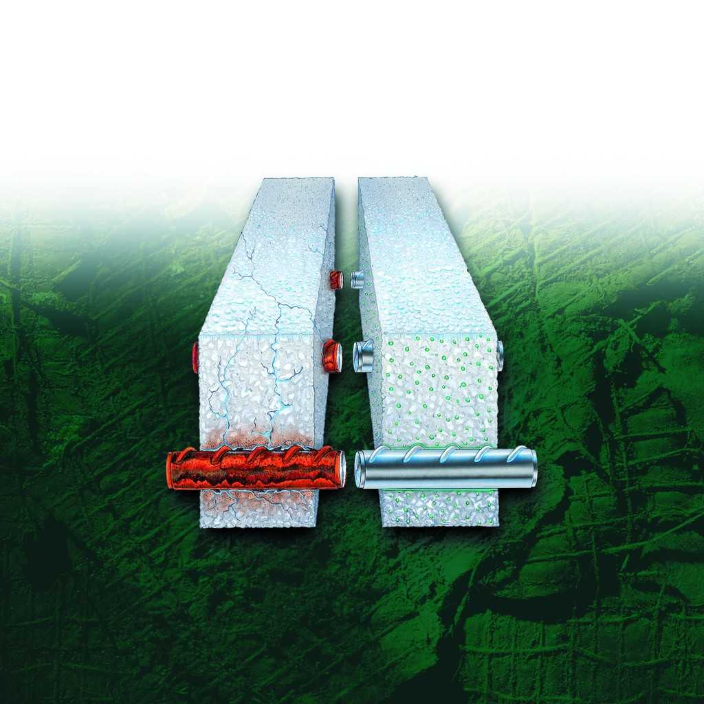 Rebar with corrosion and rebar without corrosion with MCI product